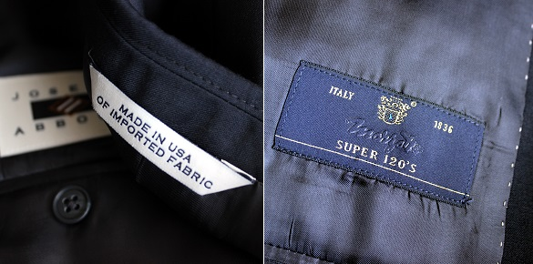 Abboud suit material tags on Dappered.com