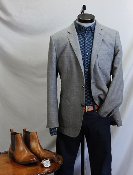 How to wear it: The Small Print Shirt - With Jeans and a Medium Grey Sportcoat | Dappered.com
