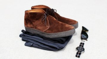 Style Scenario: Chinos Chukkas Polo – Black, gray, and brown