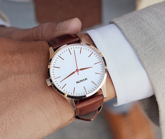 MVMT The 40 in Rose Gold and Natural Tan