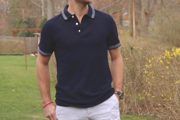 Goodfellow and Co. Standard Fit Navy Tipped Pique Polo Shirt